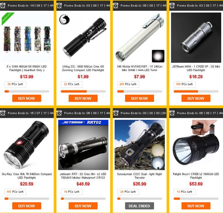 LED фонарики, аккумуляторы и светильники на gearbest