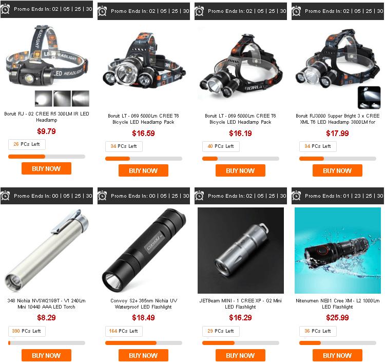 светодиодные фонарики в распродаже gearbest