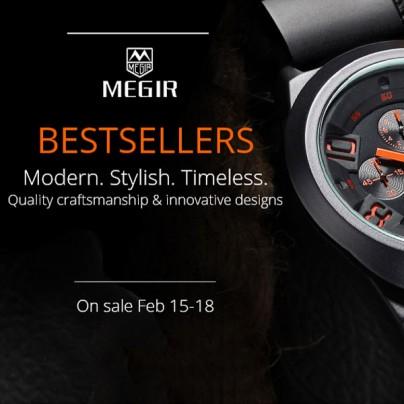 Скидка 50% на брендовые часы Megir c 15 по 18 февраля
